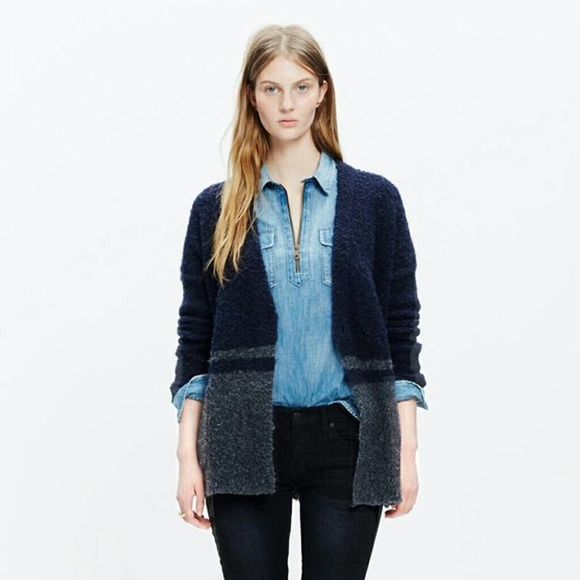 Madewell Boucle Blue Gray Colorblock Cardigan S